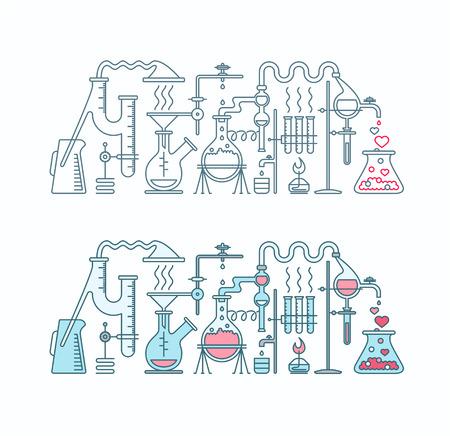 elixir: Producción de amor elixir de la ilustración laboratorio. Química del amor dos objetos planos y línea aisladas.