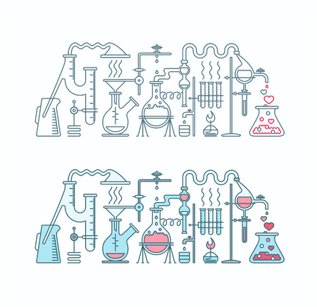 elixir: Production of love elixir in laboratory illustration. Chemistry of love two isolated flat and line objects. Illustration