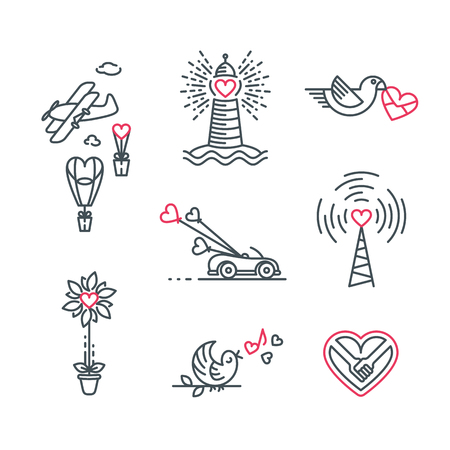 Little love theme line illustrations. Isolated vector St.Valentines day and wedding icons set. Illustration