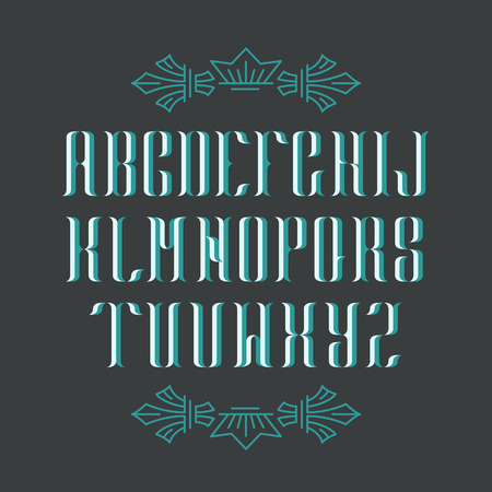 serif: Decorative serif latin font. Graphical vintage capital letters. Blue isolated objects.