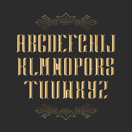 decorative: Decorative serif latin font. Graphical vintage capital letters. Golden isolated objects.