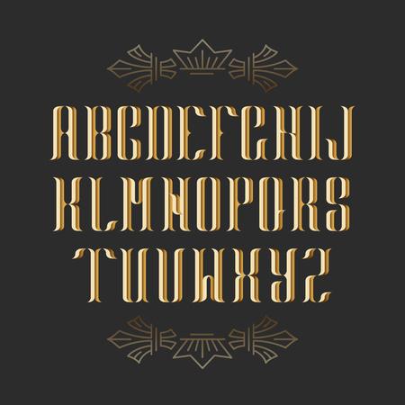 decoratif: Serif décoratif de police latin. Majuscules cru graphiques. Or objets isolés.