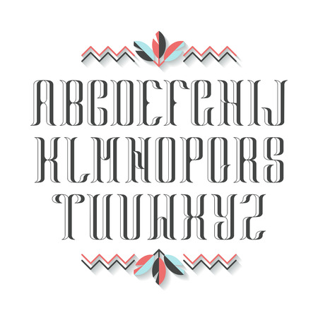 decorative objects: Decorative serif latin font. Graphical vintage capital letters. Monochromatic empty isolated objects. Illustration