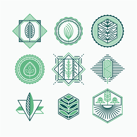 graphical: Set of graphical natural labels, design collection of eco signs, logos and symbols. Illustration