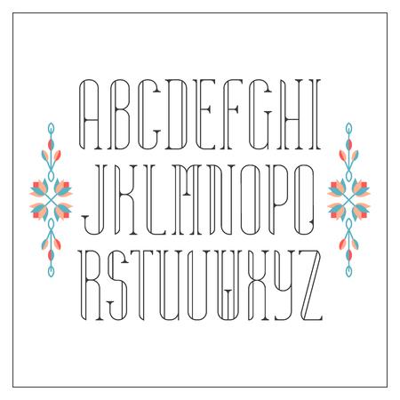 latin: Decorative line font. Monoline serif latin alphabet.