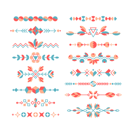 flat brushes: Vector set of decorative flat design elements, ethnic ornaments, borders and dividers, color decorations and brushes.