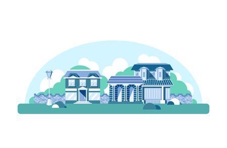 suburb: Flat isolated vector street, design background. Retro monochromatic buildings. Estate, residential suburb.