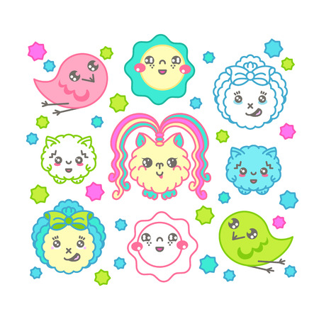 beings: Cute kawaii fantasy characters set. Isolated vector collection of cartoon amazing beings. Illustration