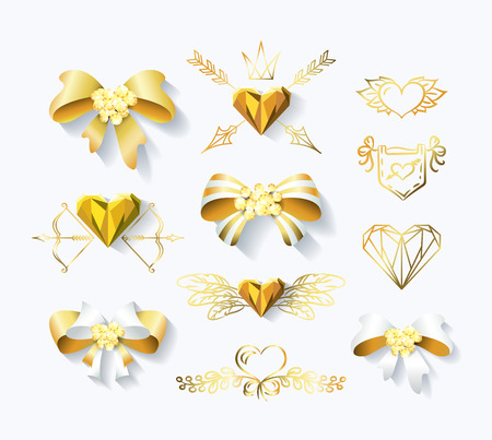 historical romance: Vector set of golden bows and heart decorations. Gold design elements for St.Valentines day,weddings, advertising and invitations.