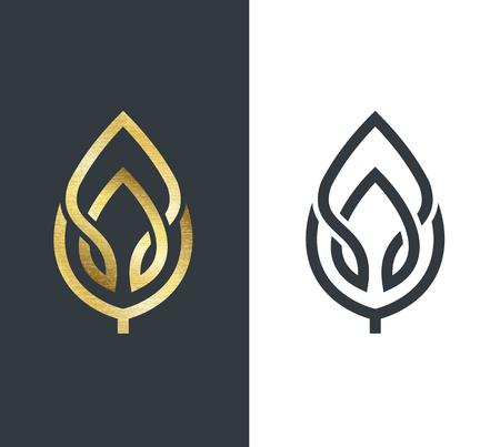 absztrakt: Vektor levél, arany alakja és monokróm egy. Elvont jelkép, tervezési koncepció, logo, embléma elem sablon.