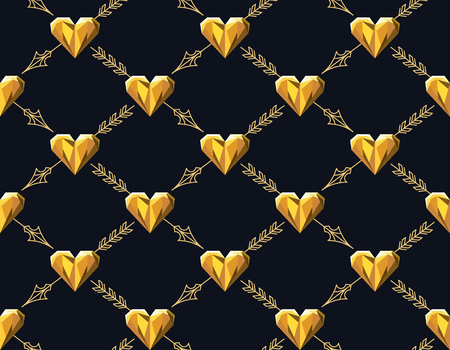historical romance: Seamless pattern with golden hearts and line arrows, romantic background. No gradients and no clipping mask.