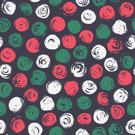 seamless pattern: Vector abstract background with round brush flowers, spots. Hand drawn seamless pattern with circles. Illustration