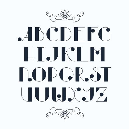 font: Latin elegant cute typescript. Capital letters, monochromatic font.