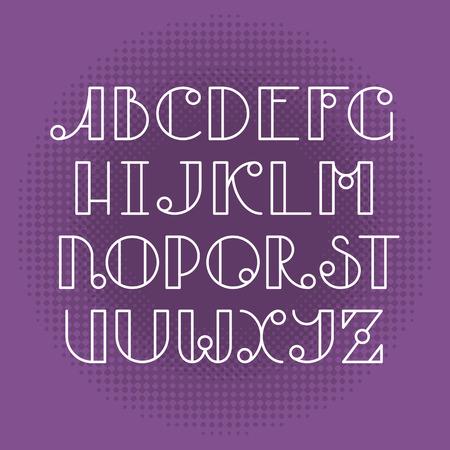 typescript: Latin elegant cute typescript. Capital letters, monochromatic outline font.