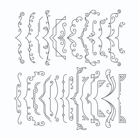 Conjunto de línea apoyos gráficos monocromáticos, los soportes. Esquema de los elementos del marco, entre paréntesis. Ilustración de vector