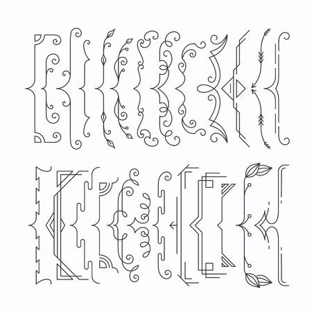 Set of line monochromatic graphical braces, brackets. Outline frame elements, parenthesis.  イラスト・ベクター素材