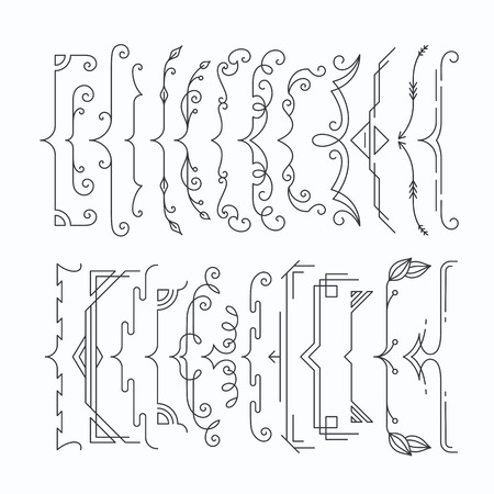 Set of line monochromatic graphical braces, brackets. Outline frame elements, parenthesis. 일러스트