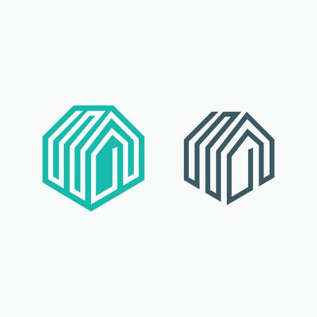 habitation: Mono line house icon. Two isolated monochromatic symbols.