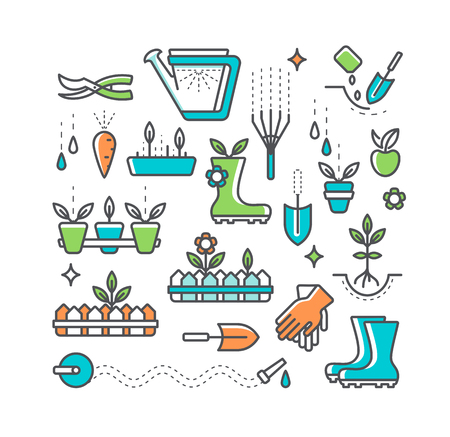 secateur: Colorful line farming and gardening icons set. Isolated horticulture symbols and decoration elements.