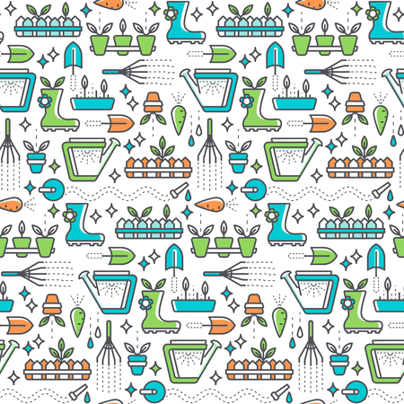 seedlings: Seamless pattern with line gardening symbols. Bright summer and horticulture background.