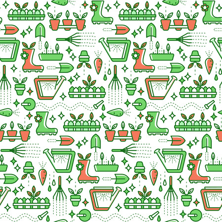 horticulture: Vector seamless pattern with line gardening symbols. Bright summer and horticulture background.