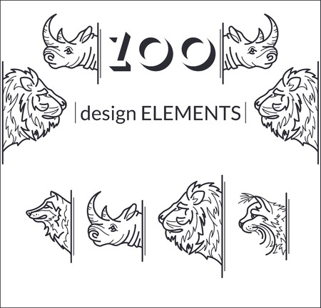zoological: Vector set of line design animals. Decorative linear elements for zoological banners, templates, placards. Illustration