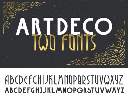 Two deco vintage poster typefaces, fonts. Set of retro style latin capital letters.