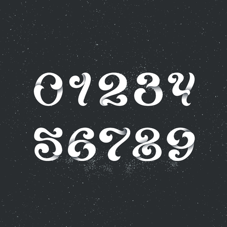 arabic numerals: Lettering style arabic numerals. Set of figures, numbers with swirl decorative elements. White for dark backgrounds.