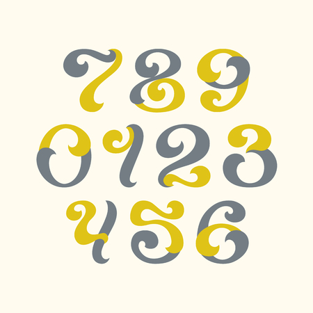 arabic numerals: Lettering style arabic numerals. Set of figures, numbers with swirl decorative elements.