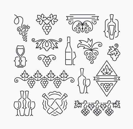 Wine, grapes and bottles' mono line elements for menu, package, design. Vector contour flat logo, emblems, decorations.