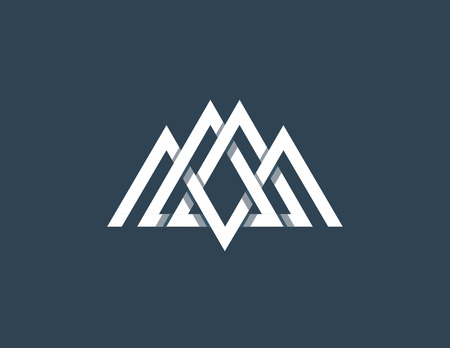 overlapped: Overlapped line mountains symbol. Monochromatic sign, logotype.