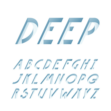 deeply: Deep pressed typeface, 3d vector imitation, latin capital letters decorative font.
