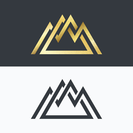 Overlapped line mountains' symbol. Golden and monochromatic signs, logotypes.