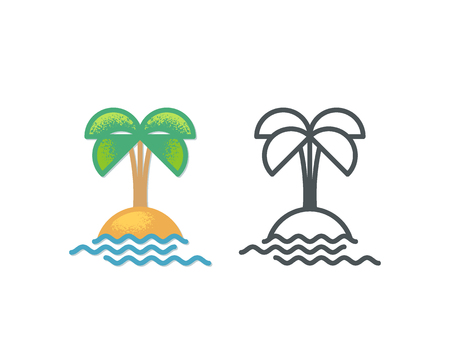 monochromatic: Palm and sea island icon, multicolor and outline monochromatic symbols.