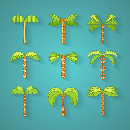 graphical: Graphical palm tree set, flat multicolor, vector objects with shadows