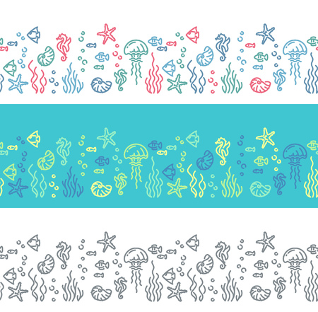 outline fish: Seamless line marine life patterns. Outline fish and sea creatures borders. Illustration