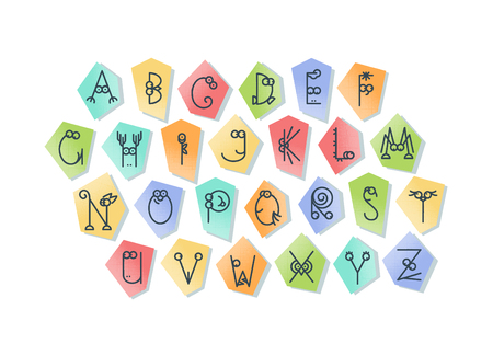 amasing: Cute line latin alphabet. Isolated, outline, multicolor letters for funny kids design. Illustration
