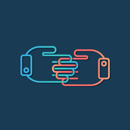 grasp: Partnership handclasp concept, collaboration and friendship icon, vector symbol, logotype. Illustration