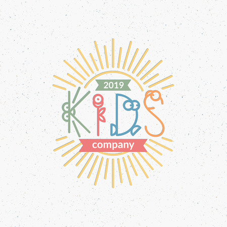kids club: Kids club, company conceptual symbol with cute line letters. Logotype for toy company, kindergarten, day nursery, festival, party. Illustration