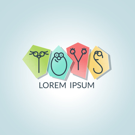 conceptual symbol: Toys conceptual symbol with cute line letters. Logotype for toy company. Illustration