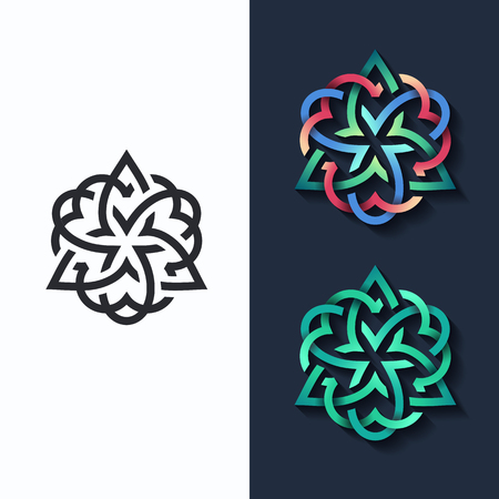 emblems: Vector flower, multicolor shape and monochromatic one. Abstract emblem, design concept, logo, logotype element for beauty, fashion, luxury, spa. Illustration