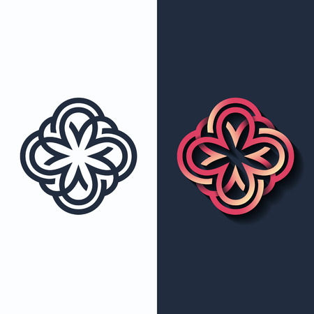 Vector flower, multicolor shape and monochromatic one. Abstract emblem, design concept, logo, logotype element for beauty, fashion, luxury, spa. Illustration