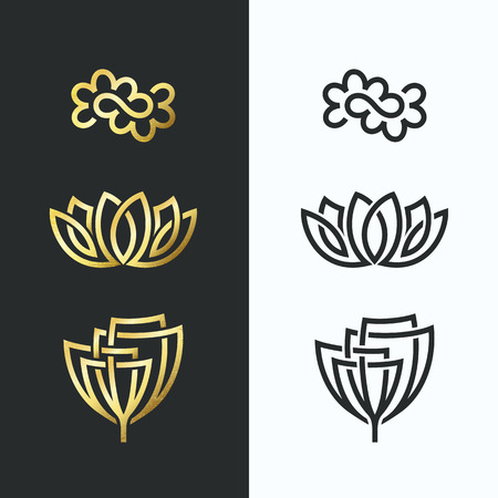 Vector line flower symbols, golden shapes and monochromatic. Abstract floral emblems, design concept, logo, logotype, icons.