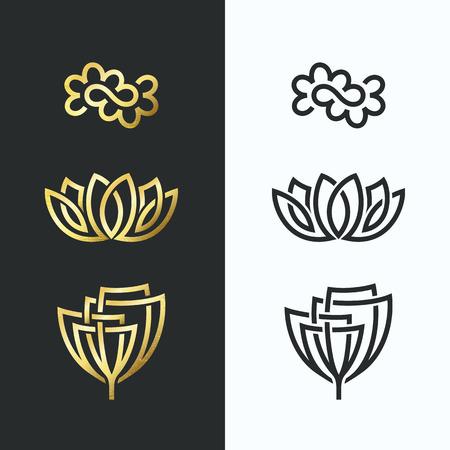 Vector lijn bloemsymbolen, gouden vormen en monochroom. Abstract floral emblemen, design concept, logo, logo, pictogrammen.
