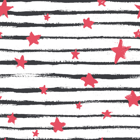 Vector seamless pattern with hand drawn stars and stripes. Abstract geometrical background.