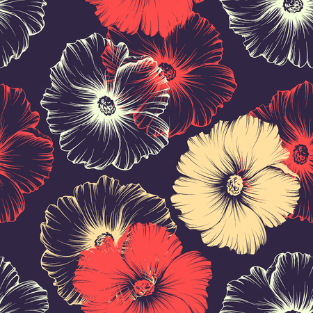 Vector seamless red and violet seamless pattern with big monochromatic mallow flowers. No gradients and clipping mask. Modern floral illustration, print, fabric, textile.