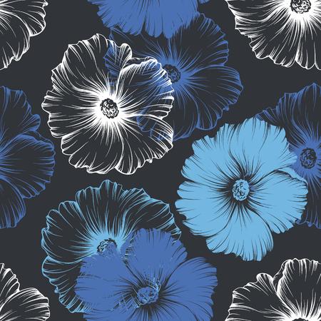 Vector seamless blu, bianco e viola seamless con grandi fiori di malva monocromatici. Nessun gradienti e maschera di ritaglio. Moderna illustrazione floreale, stampa, tessuto, tessile.