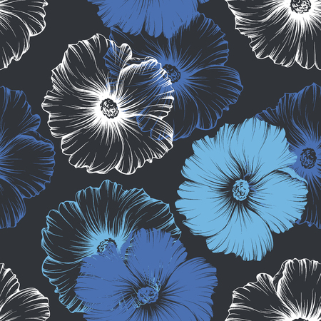 Vector seamless blue, white and violet seamless pattern with big monochromatic mallow flowers. No gradients and clipping mask. Modern floral illustration, print, fabric, textile.