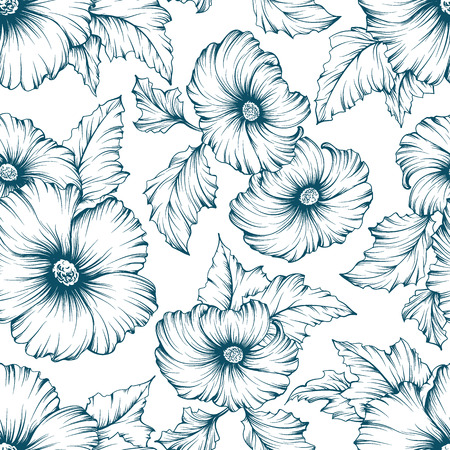 hand outline: Monochromatic seamless floral pattern. Outline mallow flowers hand drawn background.