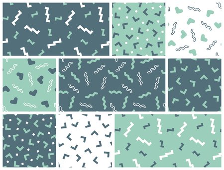 geometrical: Seamless simple geometrical patterns. Vector geometrical backgrounds set. Illustration